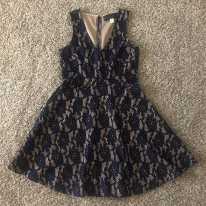 Francesca's Blue Rain Navy Lace Fit+Flare Dress